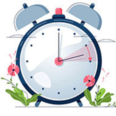 graphic of an old-fashioned alarm clock with spring flowers
