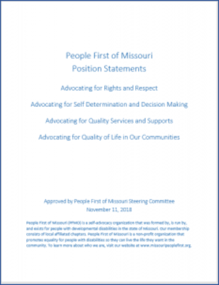 Picture of People First of Missouri's Position statements