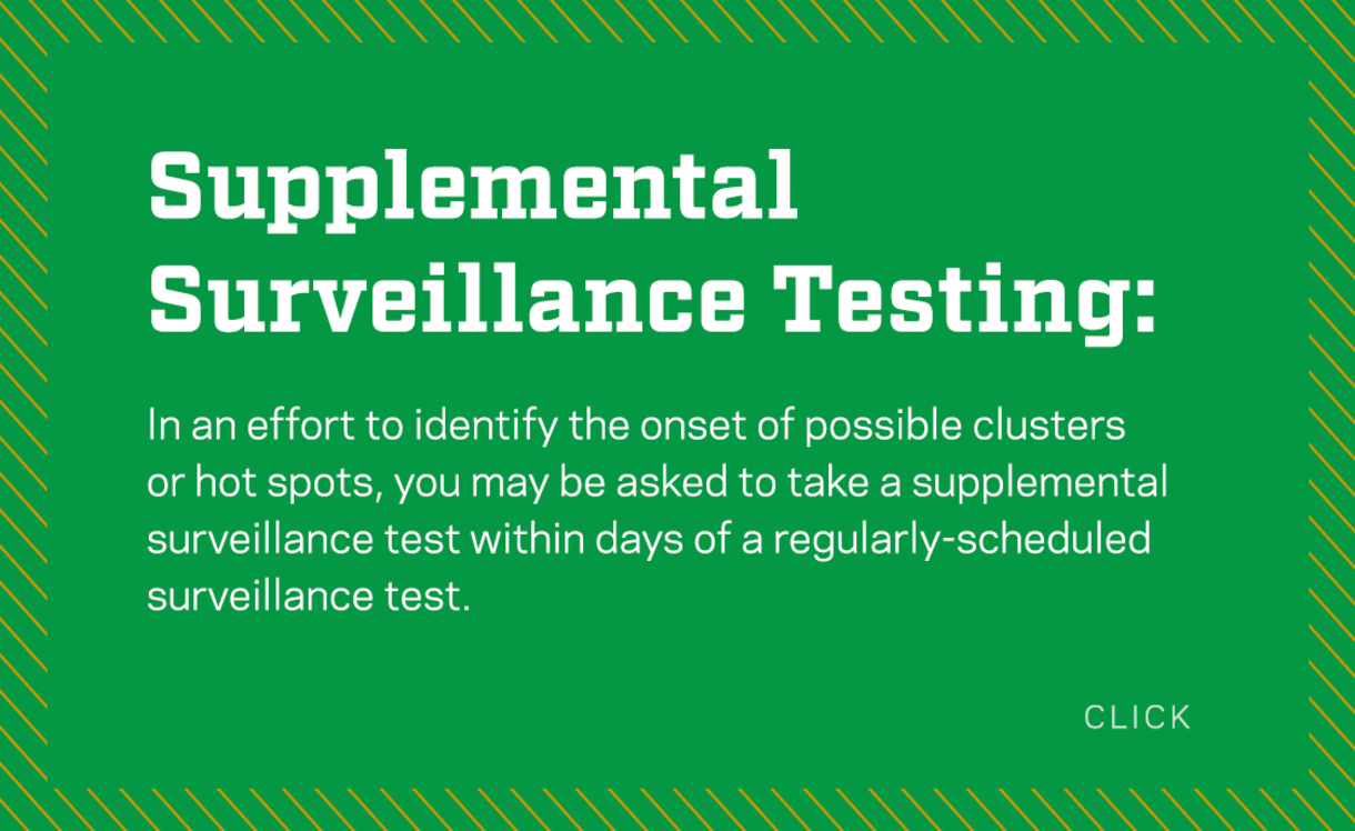 In an effort to identify the onset of possible clusters or hotspots, you may be asked to take a supplemental surveillance test within days of a regularly scheduled surveillance test. Click for more information.