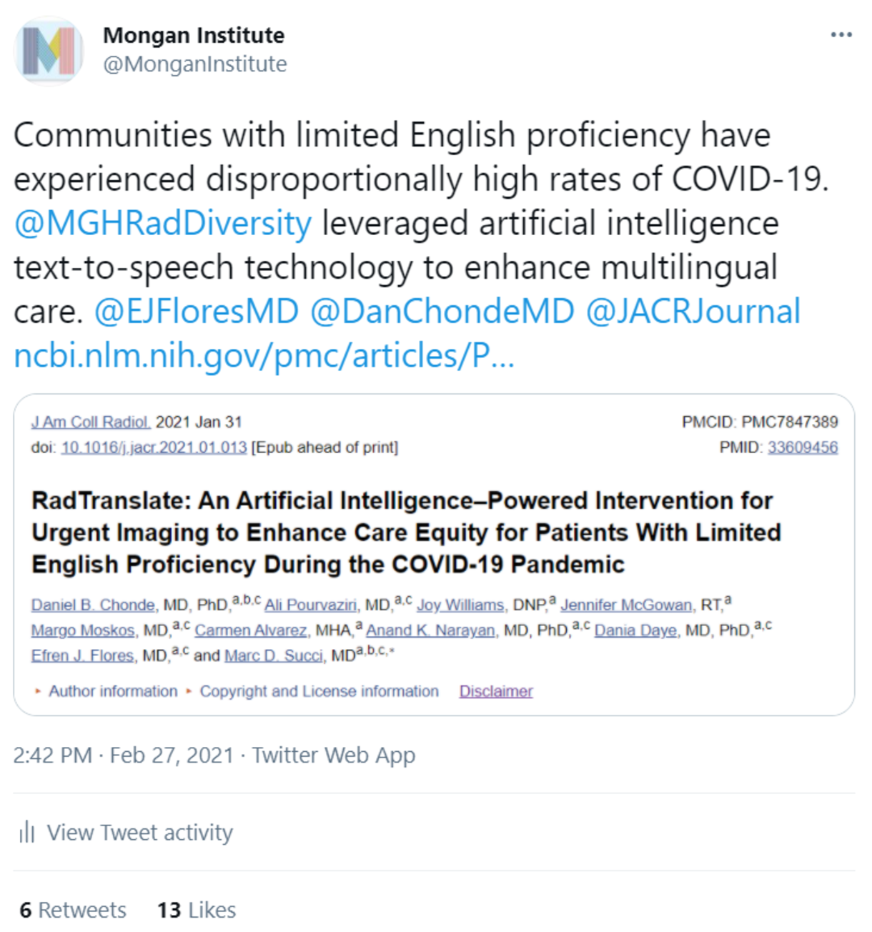 Tweet that reads:Communities with limited English proficiency have experienced disproportionally high rates of COVID-19. @MGHRadDiversity leveraged artificial intelligence text-to-speech technology to enhance multilingual care. @EJFloresMD @DanChondeMD @JACRJournal