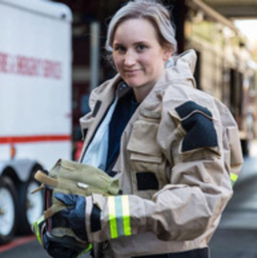 A Gresham firefighter at work.