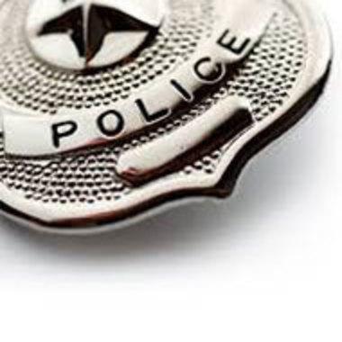 closeup of police badge