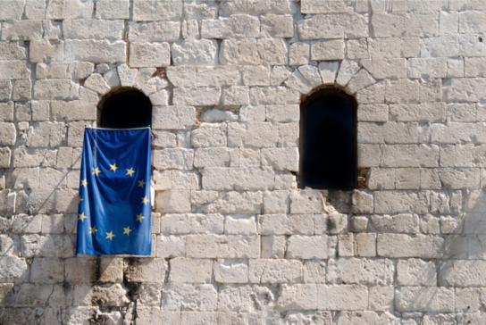 EU Flag draped from window