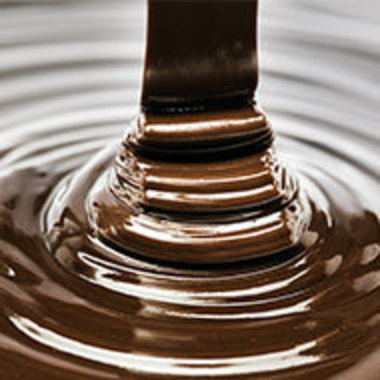 closeup of melted chocolate being poured
