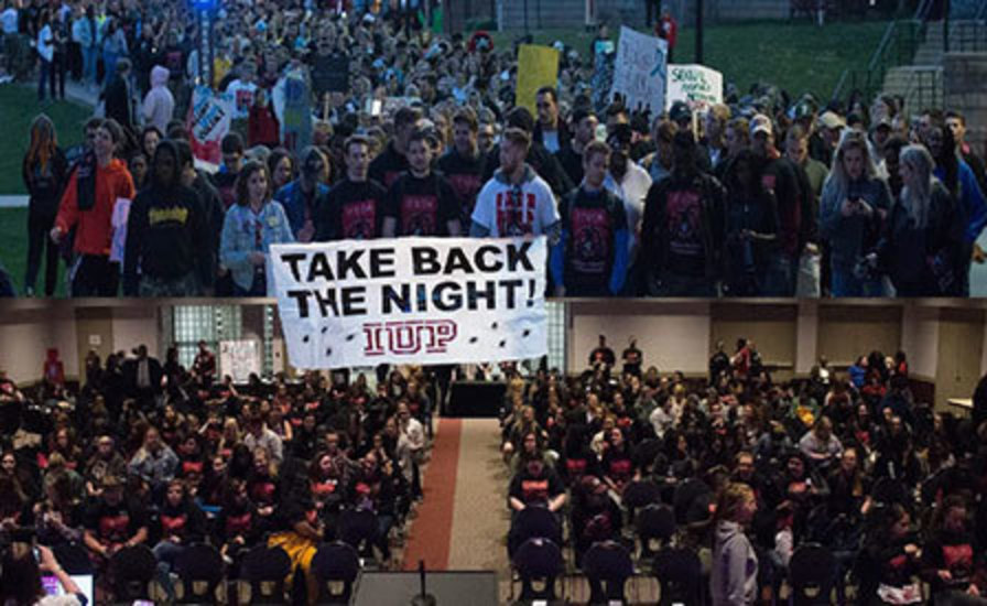 combined image showing indoor and outdoor crowds during previous Take Back the Night events