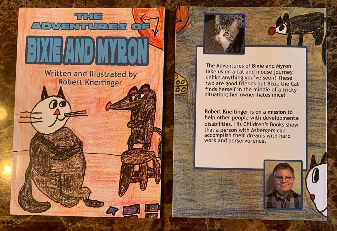 The cover of the Bixie and Myron book with ilustration of each. The about the author page from the book is also featured with a photo of Robert.