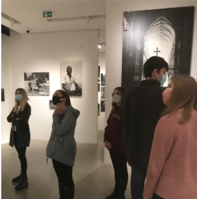 Students looking at exhibits