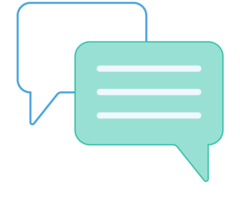 Illustration of two message boxes together