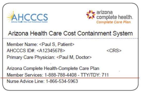 Sample AHCCCS Member Card