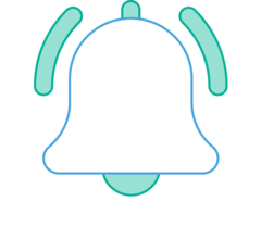 Illustration of a bell with sound waves coming from it.