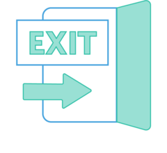 Illustration of a an arrow leading to an exit door