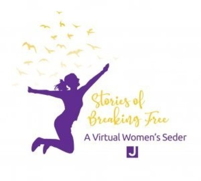 Woman dancing with copy: Stories of Breaking Free A Virtual Women's Seder