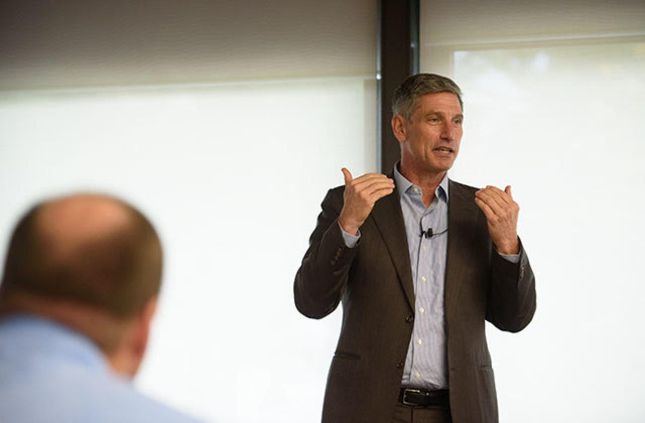 Dan Greenstein speaking during an open forum at IUP in 2019