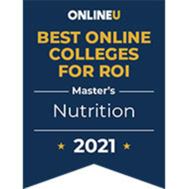 OnlineU seal for Best Online Colleges for ROI, Master's in Nutrition, 2021