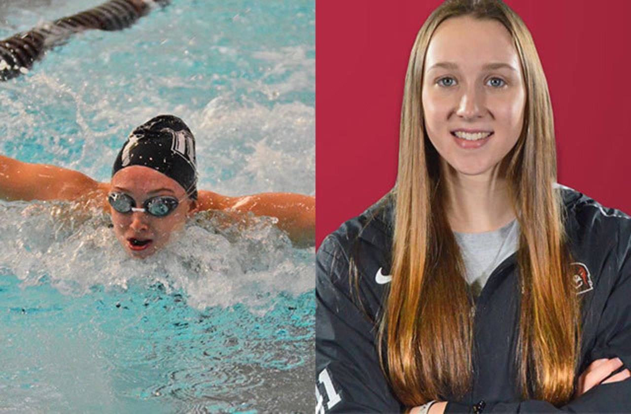side-by-side images of Paige Mikesell swimming and her IUP Athletics portrait