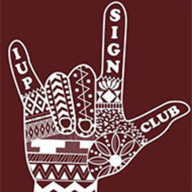 IUP Sign Language Club logo, which shows a decorated hand making the