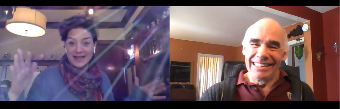 A split Zoom screen. To the left, Julie Guidry, a dark-haired Italian woman, gestures expressively as the sun streams through her window. To the right, Board Chair Steve Anderson, a white-haired man, grins widely from his home office.