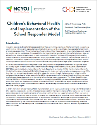 Children's Behavioral Health and Implementation of the School Responder Model