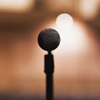 closeup of microphone on stand