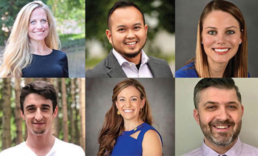 array of six headshots of Young Alumni Achievement Award recipients