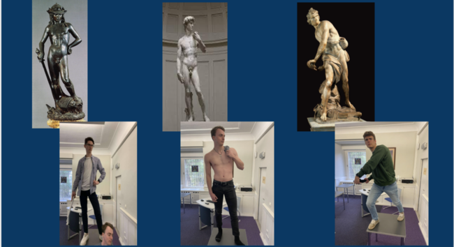 male students reenacting three famous statues