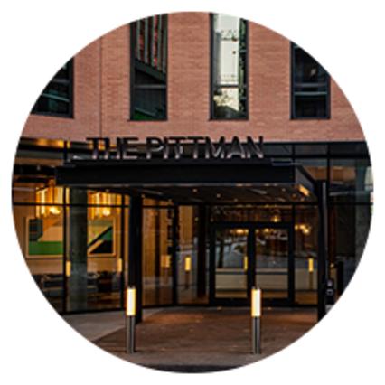Pittman Hotel entrance in Deep Ellum.