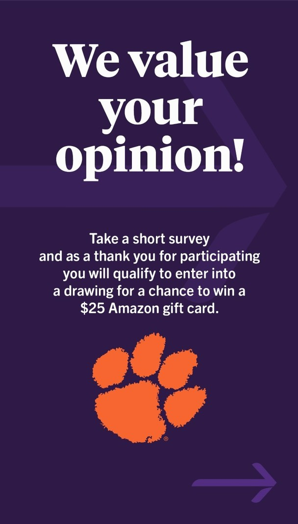 We value your opinion! Take a short survey and as a thank you for participating you will qualify to enter into a drawing for a chance to win a $25 Amazon gift card.