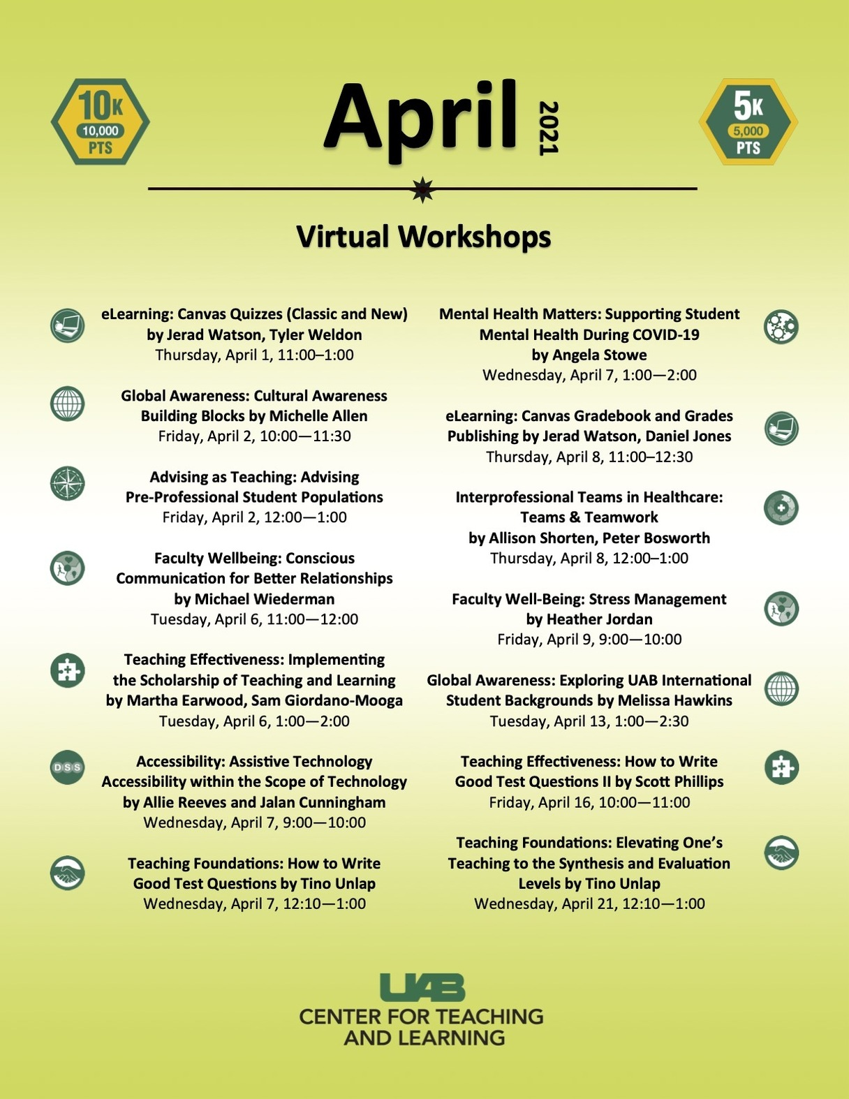 This month's workshops flyer from the CTL