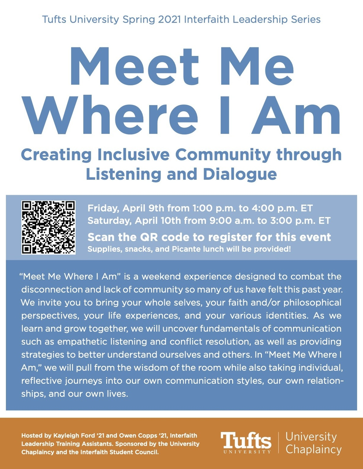Flyer for event; Text reads: Meet Me Where I Am, see details below