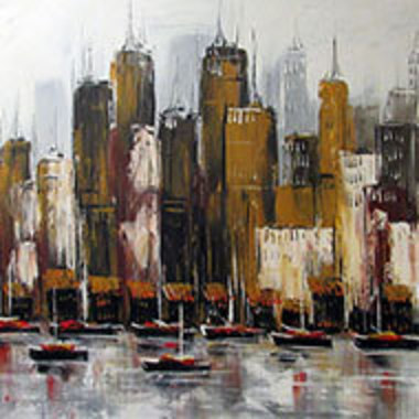 detail from cityscape painting