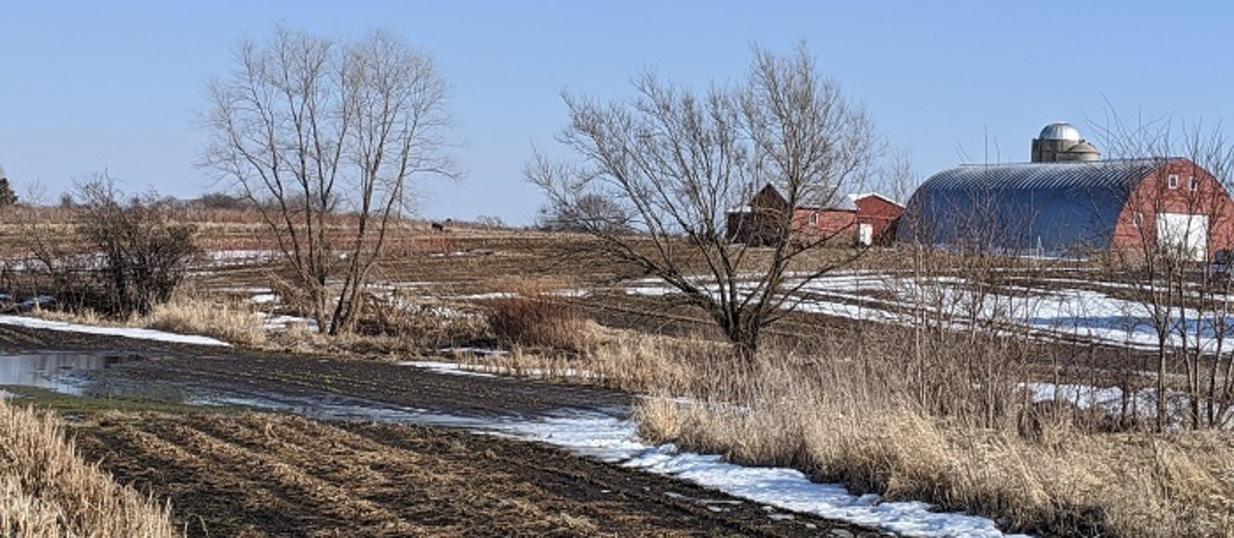 Farm field in southern Wisconsin in March