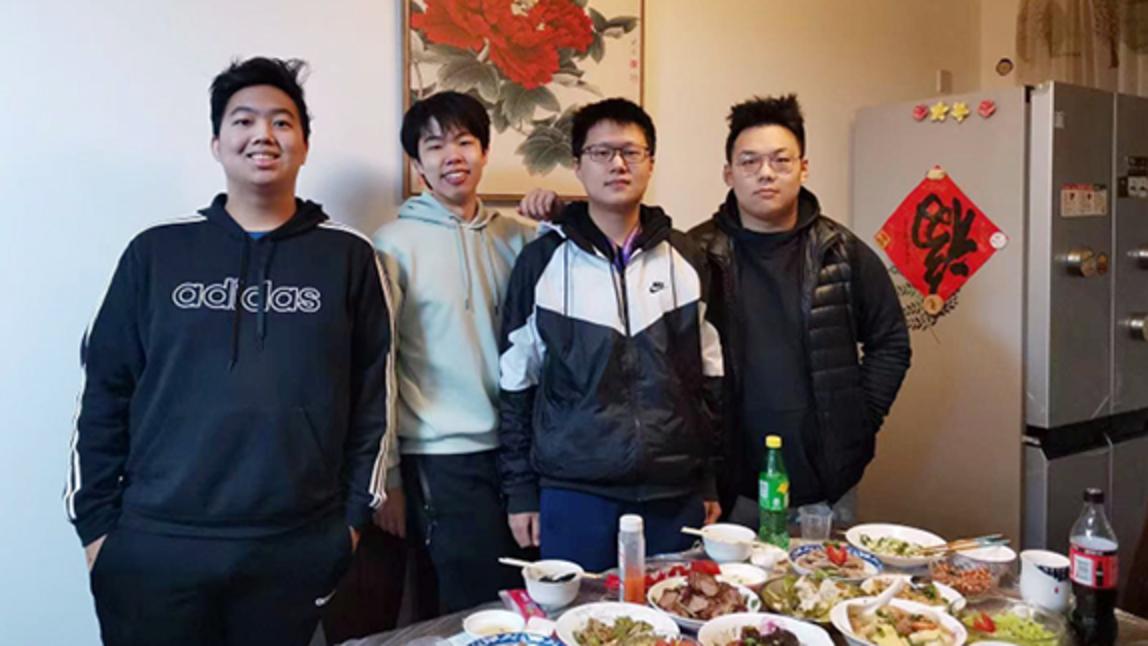 Corey Chen, Jinuk Kim, Andy Zhang and Ziming Xu at Xu's family home in Shanghai
