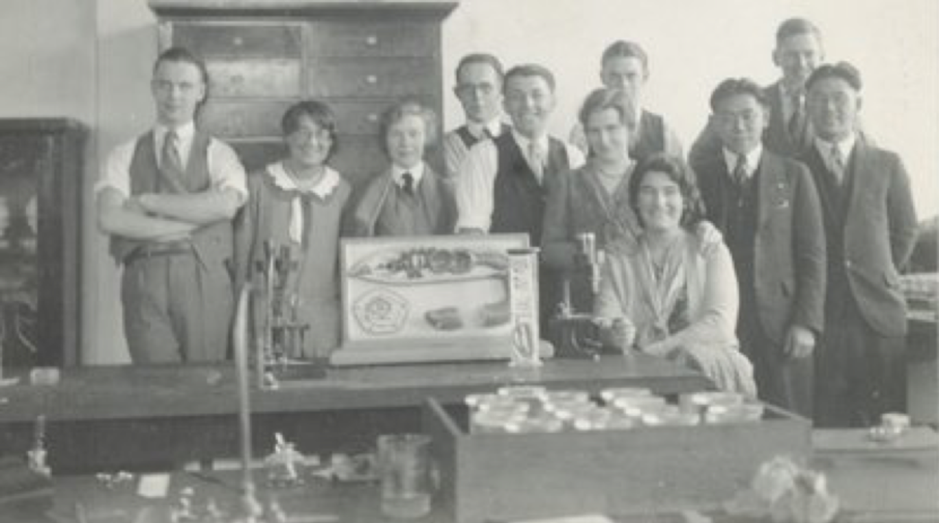 Ian McTaggart Cowan (back row, right) with classmates at the University of British Columbia. (1931)