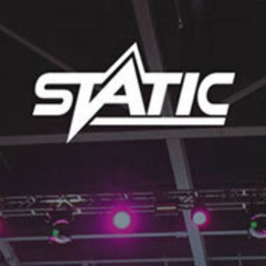 STATIC logo over photo of auditorium ceiling lights