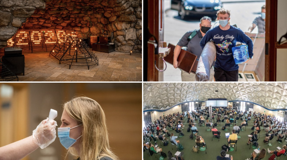 Photos of COVID's impact on campus, including student having temperature taken, students in class in Stepan Center.