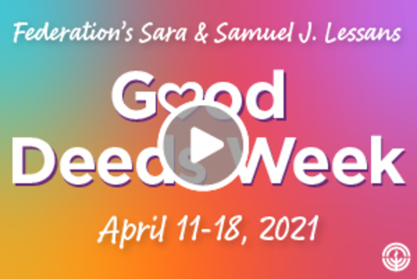 Good Deeds Week graphic with play button