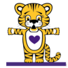 Baby tiger standing up ready to hug you with a purple heart on his chest