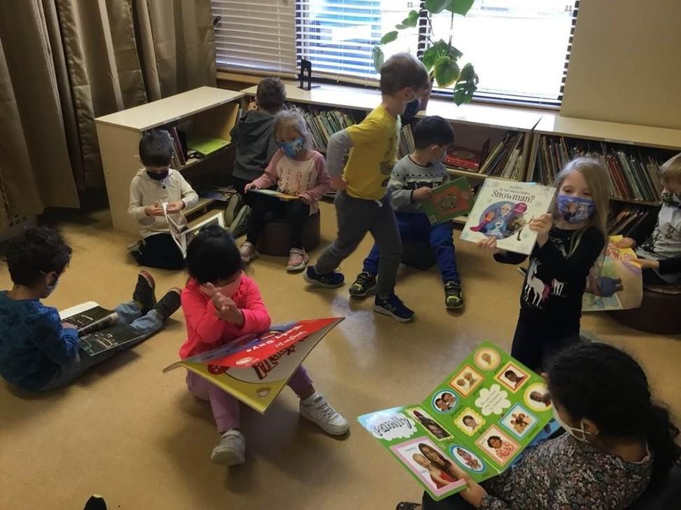 children in the preschool library