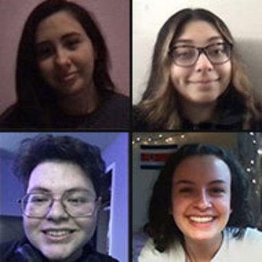 Zoom photos of LaSO executive board members, clockwise from top left, Nancy Avalos, Jhoana Aguilera Lemus, Tatiana Cleffi, and Jorge Luna