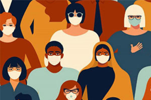 A graphic image showing a diverse group of people, all wearing masks