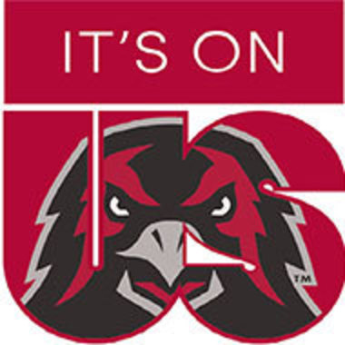 A logo for the It's On Us campaign with a hawk face on large red letters for the word us.