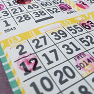 closeup of a bingo card in use