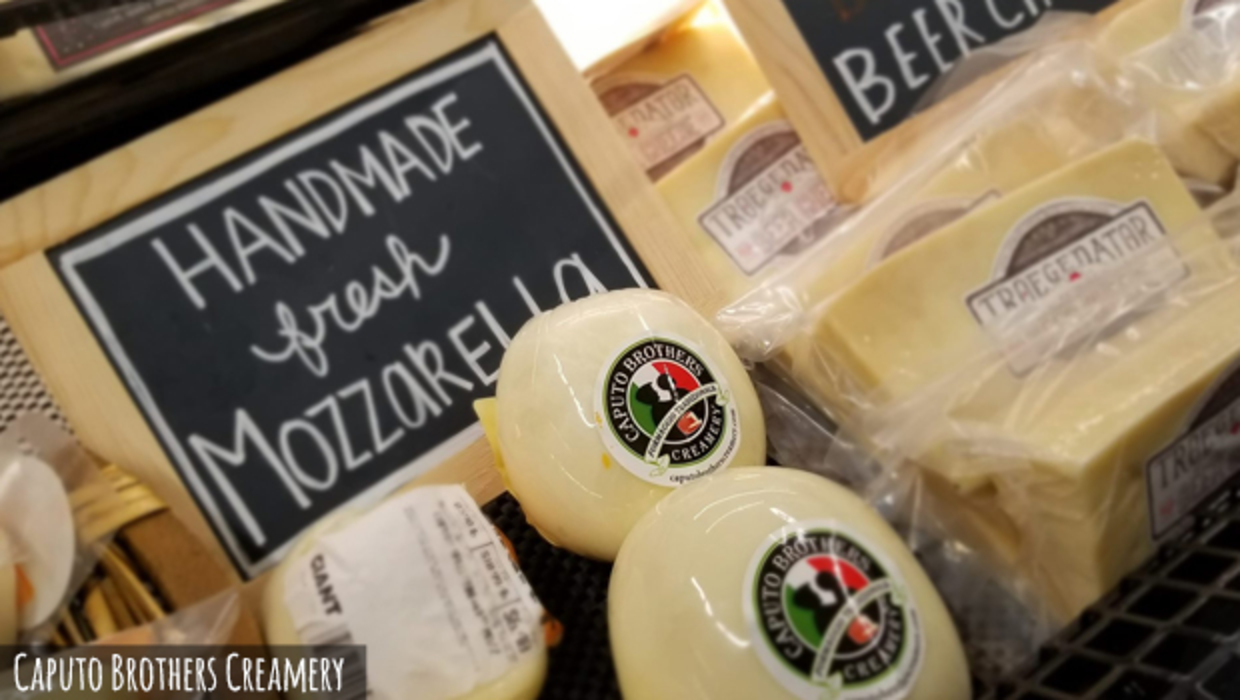 A mouthwatering display of cheeses at Caputo Brothers Creamery