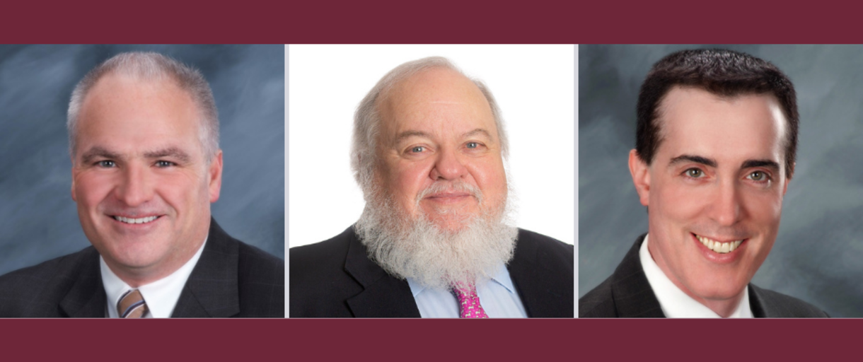 Photos of faculty excellence recipients - Prof. Flanner, Prof. Sullivan, and Prof. Silverstein