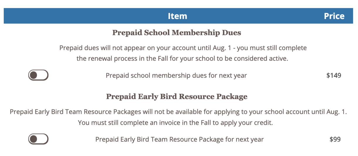 Log in to your NSDA Account and visit your School Purchases tab