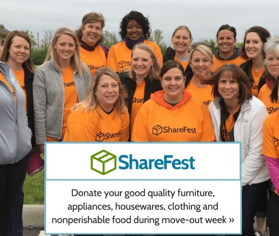 Share Fest: donate your good quality furniture, appliances, housewares, clothing, and nonperishable food during move out week. Group of people in orange shirts posing for picture.