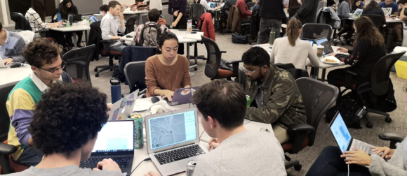 Students working during mapathon