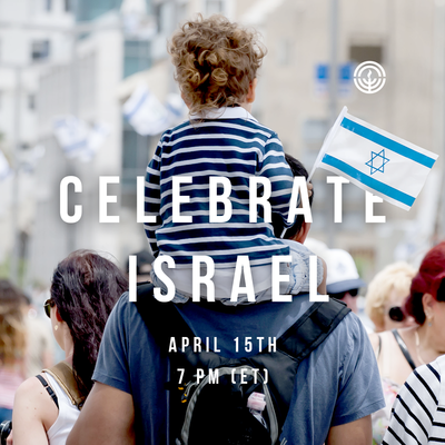Celebrate Israel child with Israel flag on father's shoulders