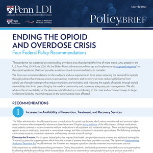 Ending the Opioid and Overdose Crisis