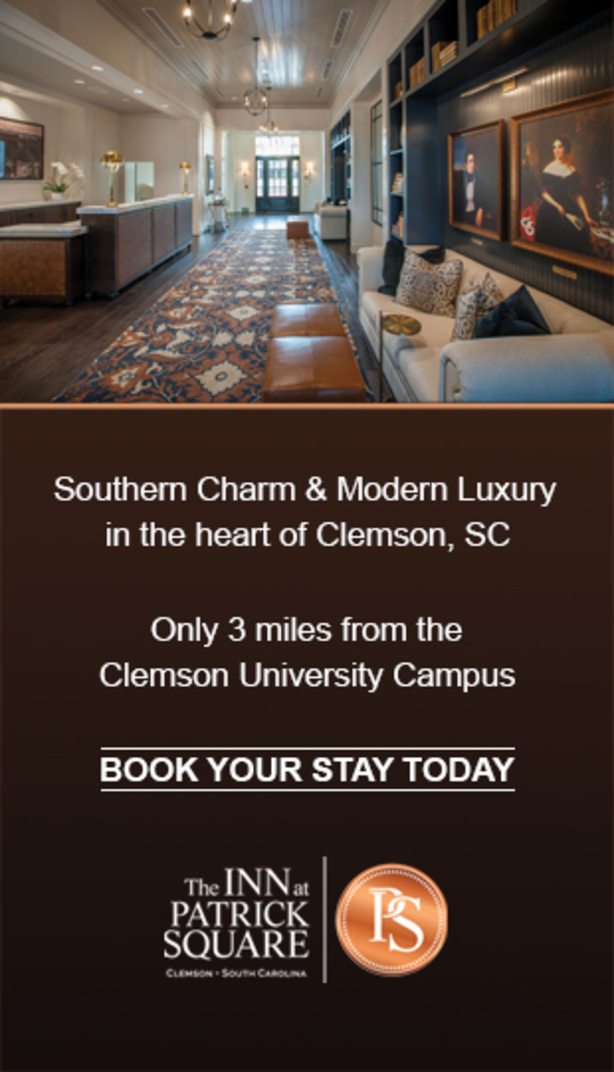 Southern Charm & Modern Luxury in the heart of Clemson, SC Only 3 miles from the Clemson University Campys Book your stay today. The Inn at Patrick Square